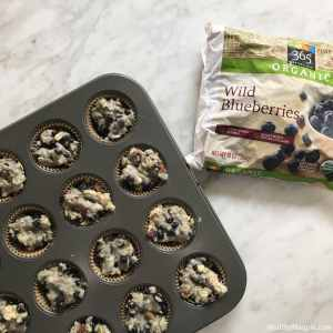 Recipe and ingredients picture for my vegan gluten-free no sugar added chia oat organic blueberry mini muffins