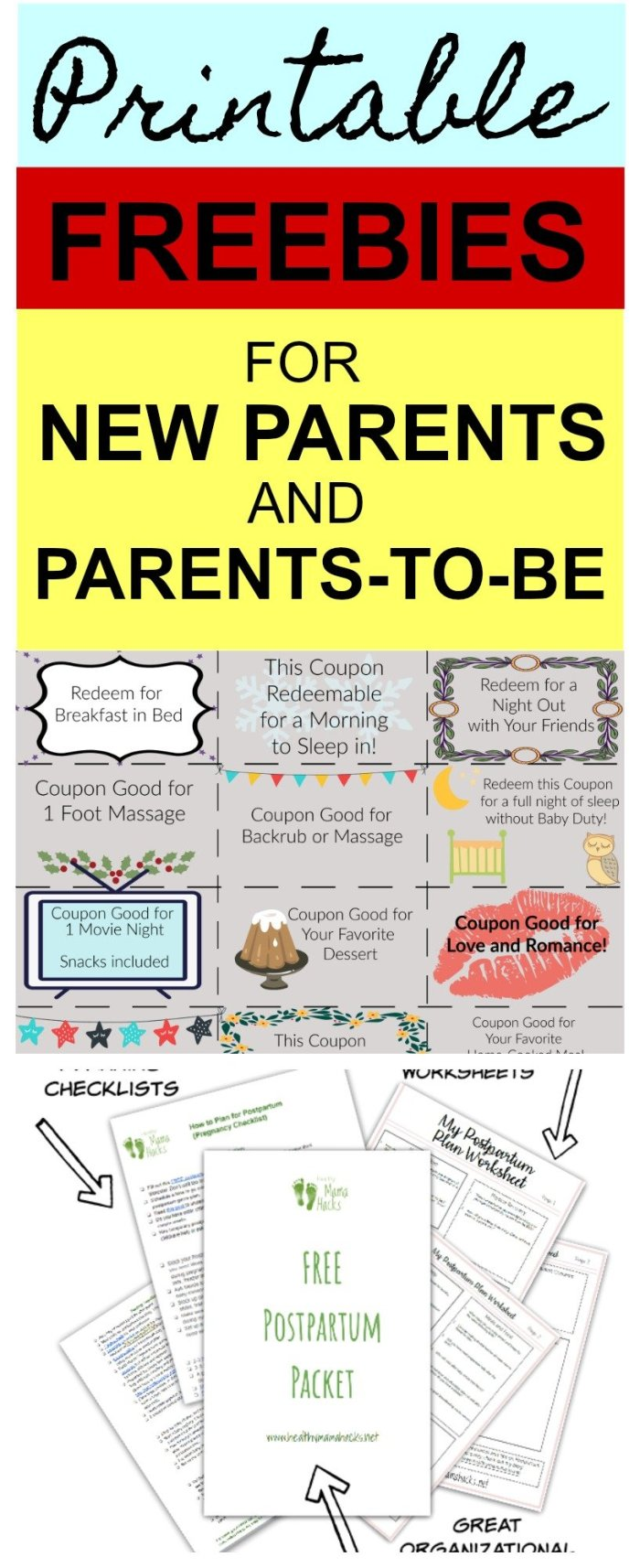 Download these printable freebies for new parents and parents-to-be! Fun gift ideas, planning worksheets, checklists for baby and so much more! #freebies, #newparents, #newmomprintables, #newmomfreebies, #babyfreebies. #freeprintables
