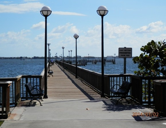 Dock in the Indian River Looking East Towards Hutchinson Island