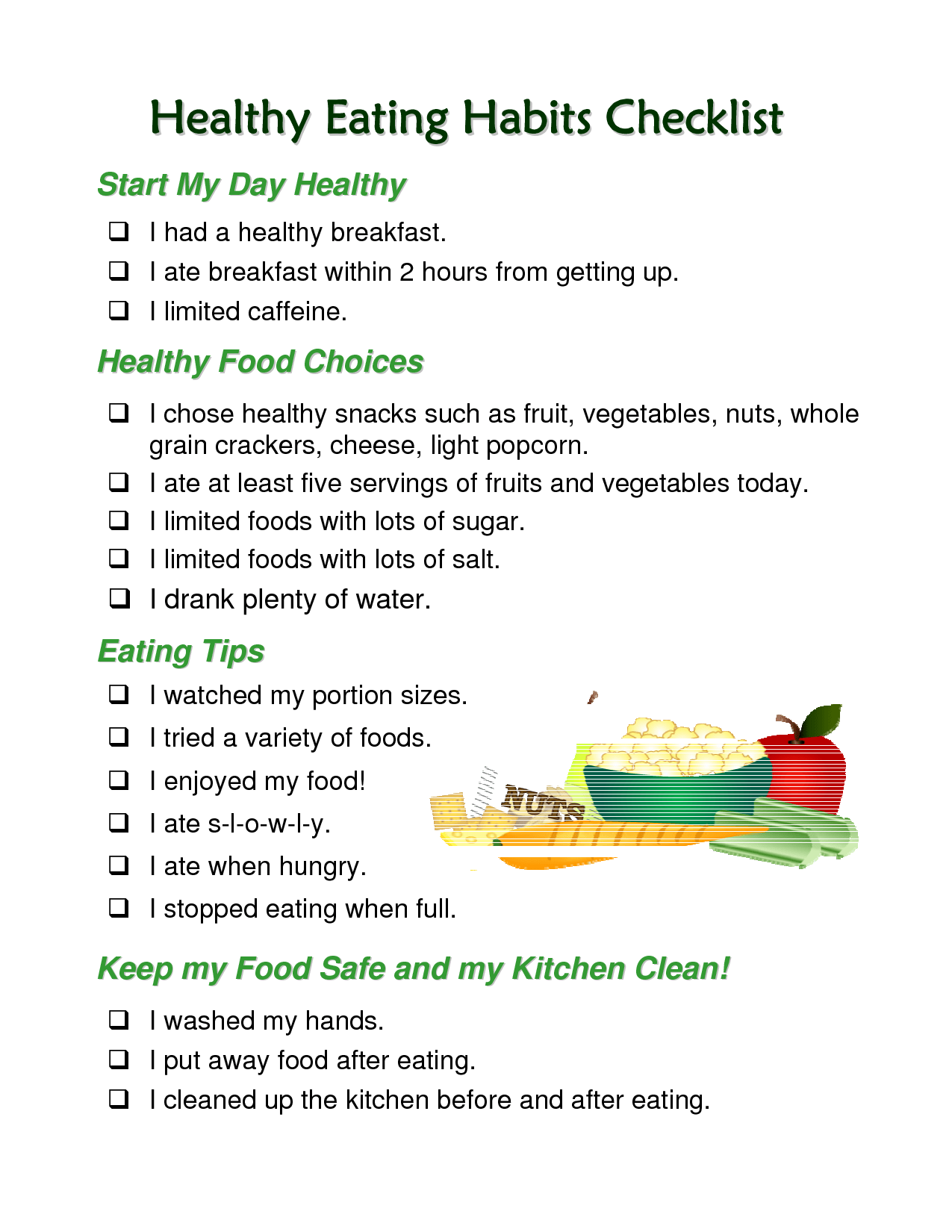 Healthy Eating Habits Checklist