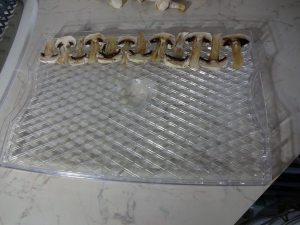 Food dryer tray with sliced mushrooms