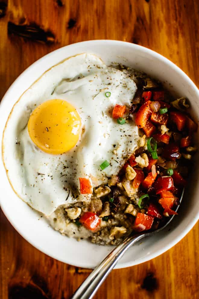 savory oatmeal with cheddar and fried