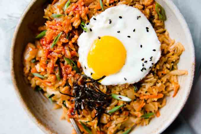 Vegetarian Kimchi Fried Rice (20 Minutes!) | Healthy Nibbles