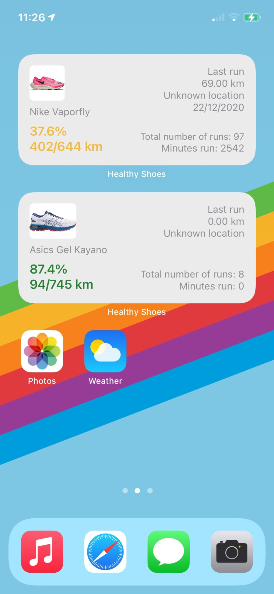 Your running stats on your home screen