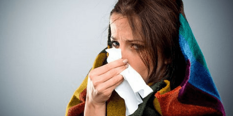 Woman who has the flu