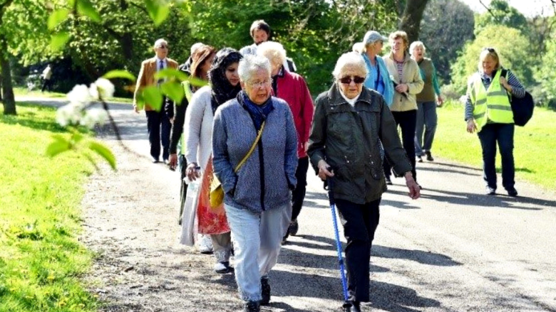 People enjoying a group walking event