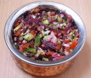 mix vegetable salad with flax seed topping