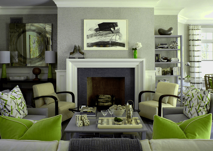 Gray and green living room ideas