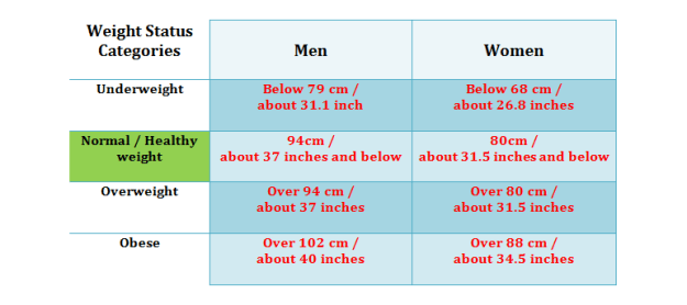 Healthy Weight Bmi Ranges And Waistline Circumference