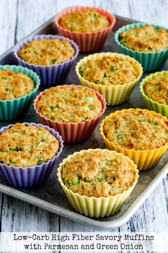 Low-Carb High-Fiber Savory Muffins with Parmesan and Green Onions title photo