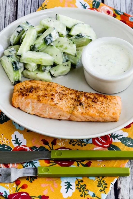 Easy Low-Carb Air Fryer Salmon with Mustard-Herb Sauce