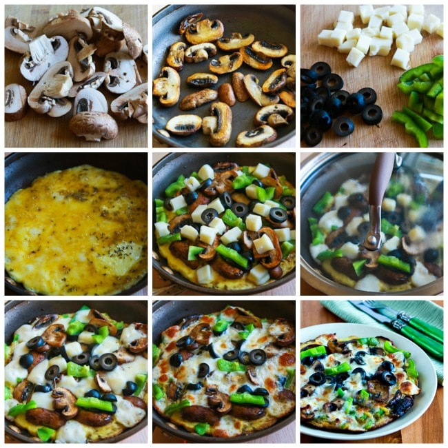 Low-Carb Egg-Crust Vegetarian Breakfast Pizza process shots collage