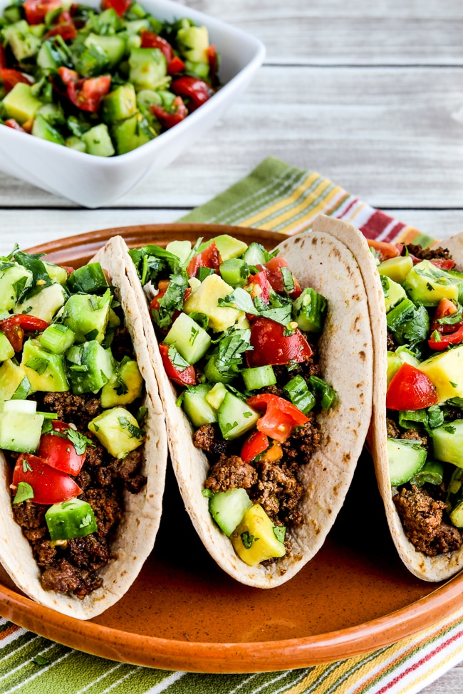 close-up photo for Ground Beef Tacos with Tomato-Avocado Salsa