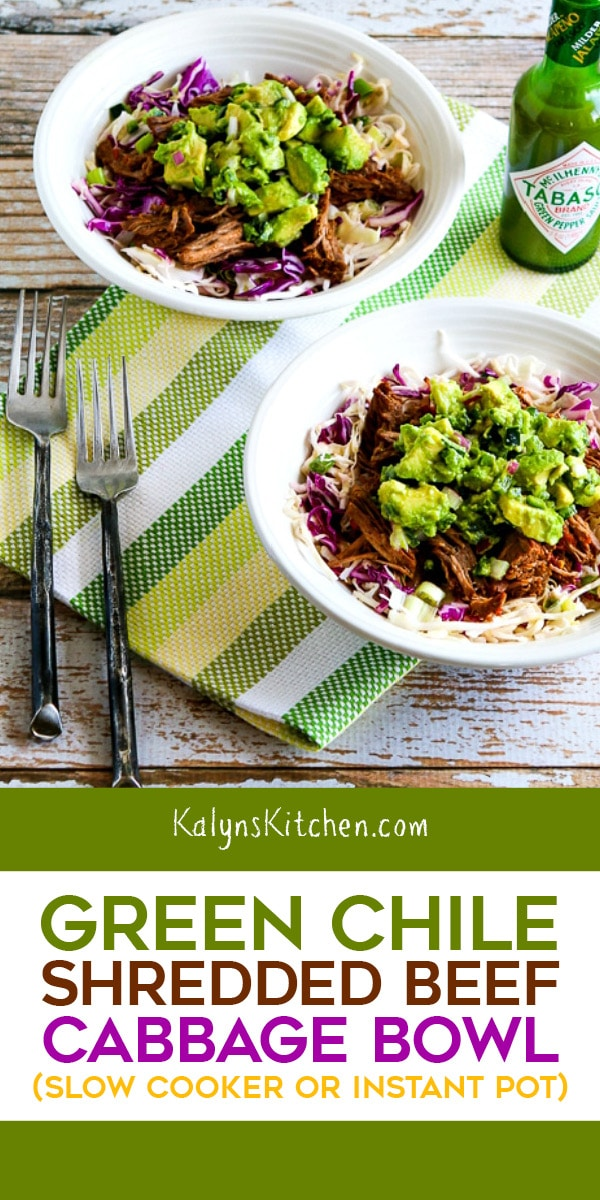Pinterest image of Green Chile Shredded Beef Cabbage Bowl