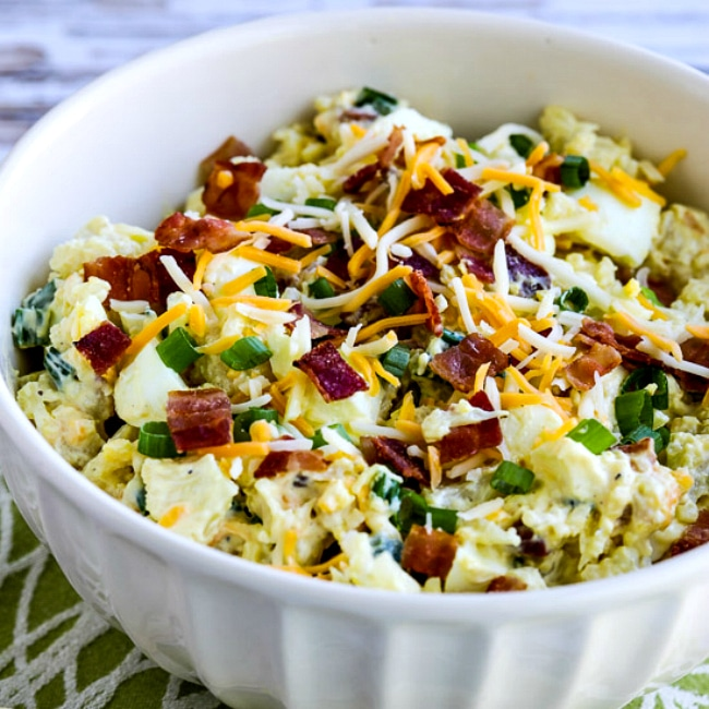 Square thumbnail close-up image of Loaded Cauliflower Mock Potato Salad in bowl