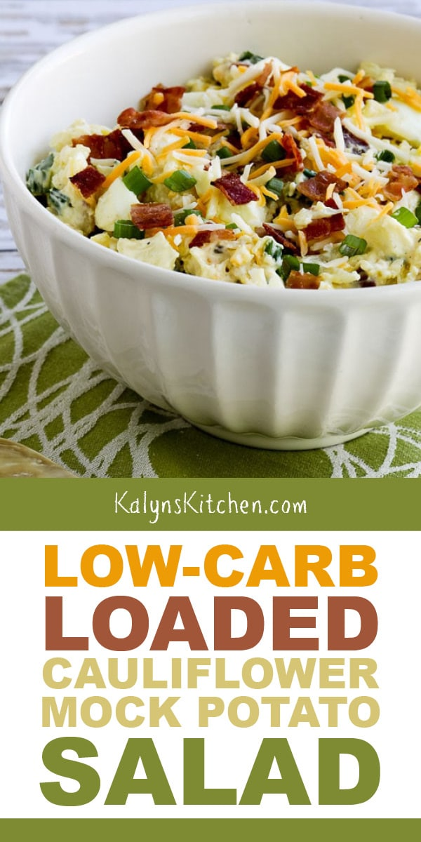Pinterest image of Low-Carb Loaded Cauliflower Mock Potato Salad