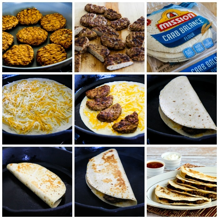 Sausage and Cheese Breakfast Quesadillas process shots collage