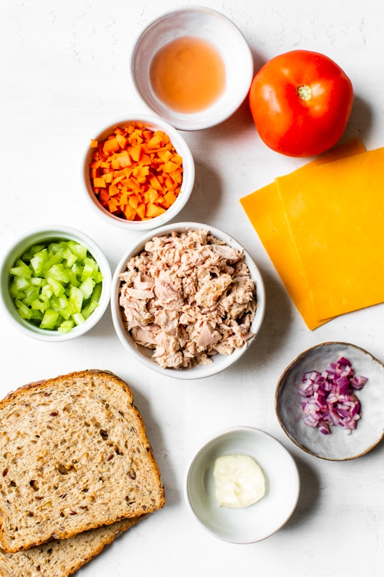 Ingredients to make a healty tuna melt