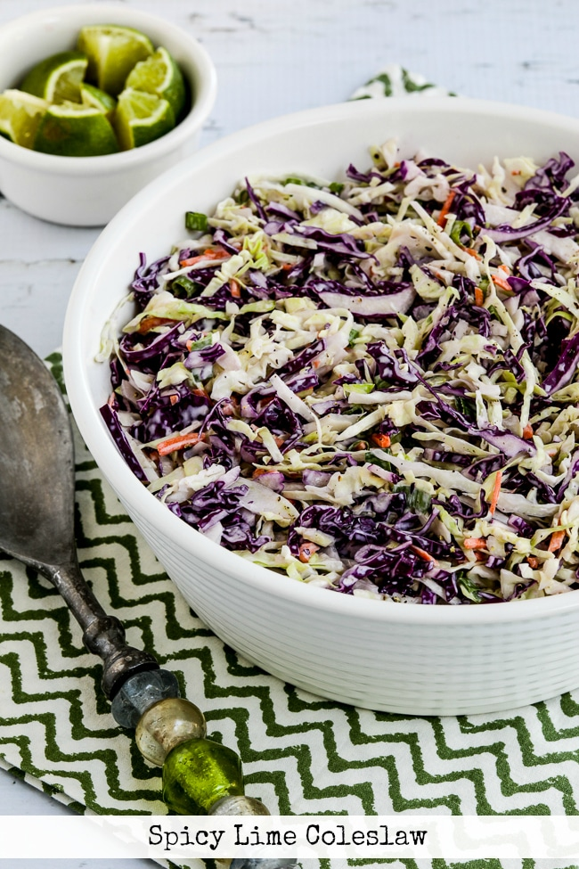 Spicy Lime Coleslaw finished salad in serving bowl