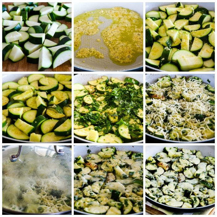 Cheesy Zucchini with Garlic and Parsley process shots collage