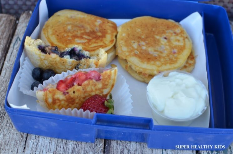 finger food pancakes with fruit inside
