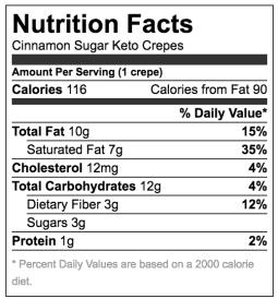 Nutrition fact label for cinnamon sugar keto crepes