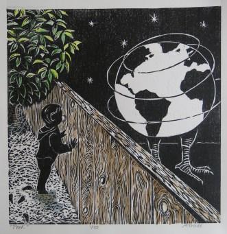 "Ann Truax ""Peek"" woodcut, 2016"