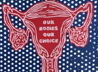 """Kelly Witte """"Our Bodies Our Choice"""" linoleum, screenprint"""
