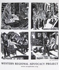 "Western Regional Advocacy Project ""Four Freedoms"" screenprint 2012"