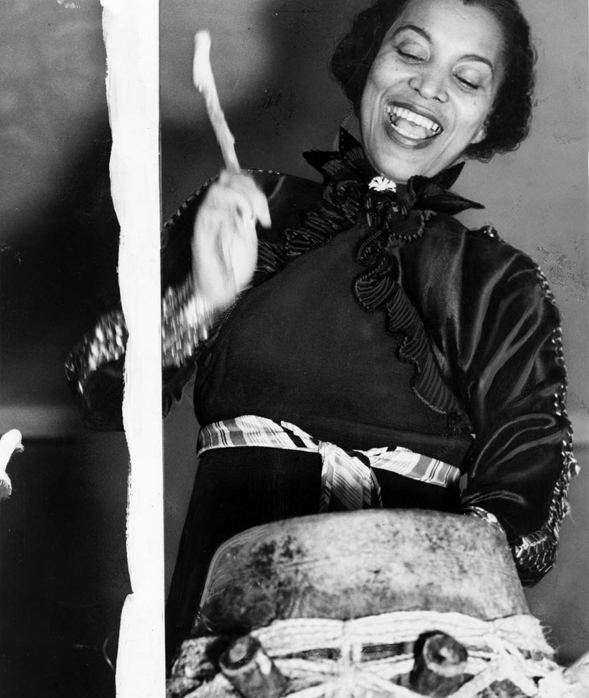 Zora Hurston beating the hountar, or mama drum