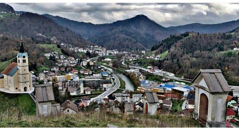 View of Idrija Town from the Hills