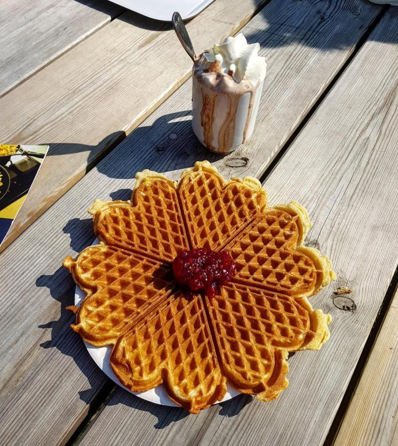 Heart shaped Norwegian waffles in Oslo