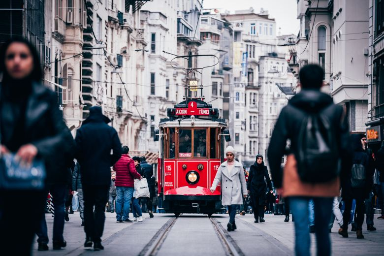 Photogenic vintage trams in the İstiklal Avenue of Taksim.