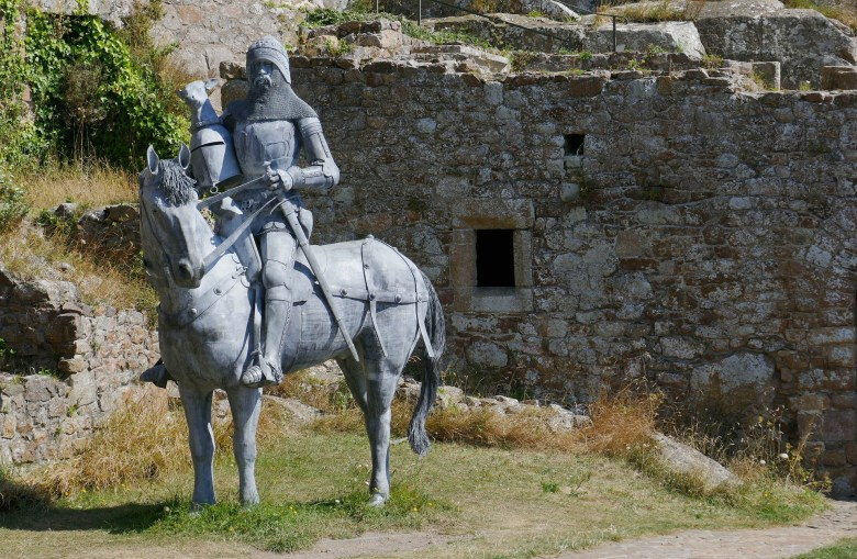 'The Perfect Knight' statue depicting Sir Hugh Calverly inside Mont Orgueil