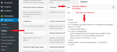 how to add adsense to wordpress sidebar