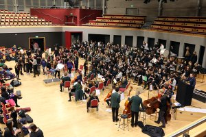 The orchestra rehears for OSoSic II in the Butterworth Hall