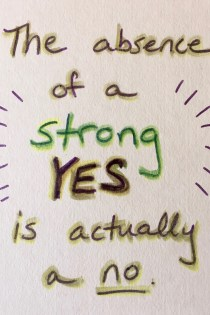 "Hand-drawn card (white background with green, yellow, and purple marker) that shares the mantra: ""The absence of a strong YES is actually a no."""