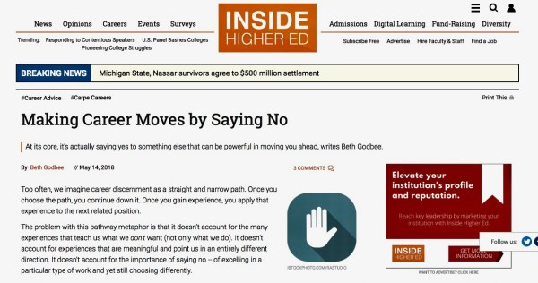 "Screenshot of the opening to ""Making Career Moves by Saying No"" published in Inside Higher Ed's Carpe Careers advice column."