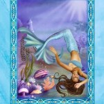 """This card from Doreen Virtue's """"Magical Mermaids and Dolphins"""" oracle deck says """"Blessed Change"""" in large letters at the top. An image appears below these letters and in the card's center showing a mermaid floating upside down among seaweed, coral, and shells. At the card's bottom appears the message: """"A major life change brings you great blessings."""""""