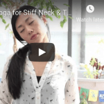 """Screen capture of YouTube video """"Gentle Yoga for Stiff Neck & Tight Shoulders,"""" showing the creator Kris in a seated position with her neck to the side."""