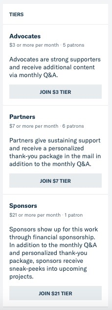 "This screenshot from Patreon shows the 3 tiers of support described in the blog post with buttons to ""join"" each tier."
