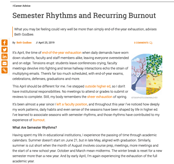 """This screenshot shows the start of the Inside Higher Ed article """"Semester Rhythms and Recurring Burnout,"""" including the byline, first four paragraphs, and image of seasonal change."""