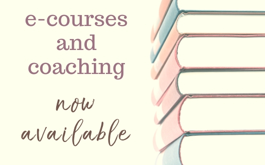 "Flyer with a stack of books and light yellow background reads: ""e-courses and coaching now available."""