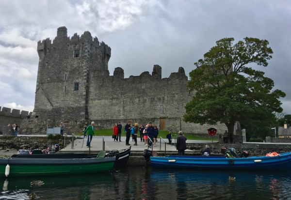 Photo of Ross Castle in Killarney, Ireland, taken the day before the El Paso shooting. Photo looks up at the castle from the water.