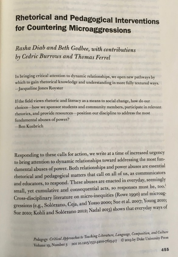"""The front page of the article """"Rhetorical and Pedagogical Interventions for Countering Microaggressions"""" by authors Rasha Diab and Beth Godbee, with contributions by Cedric Burrows and Thomas Ferrel."""