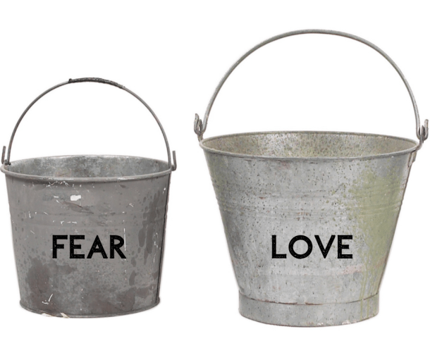 "This image shows two buckets: one labeled ""fear,"" the other ""love."""