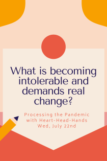 "This image shares this week's question—""What is becoming intolerable and demands real change?""—along with meeting information: ""Processing the Pandemic with Heart-Head-Hands. Wed, July 22nd."" Text appears in a central box that looks like a letter partially out of an envelope. The colors are red, orange, and yellow."