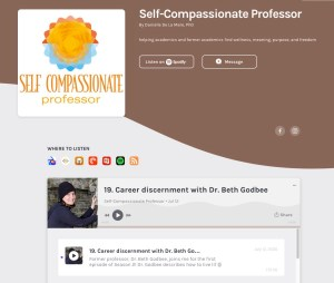 """This screenshot shares the Self-Compassionate Professor podcast page with a grey and brown color scheme. In addition to sharing the podcast's name, creator, and theme—""""helping academics and former academics find wellness, meaning, purpose, and freedom""""—it shares episode 19: """"Career discernment with Dr. Beth Godbee,"""" along with a photo of Beth wearing black and pressing against a grey rock formation."""