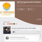 "This screenshot shares the Self-Compassionate Professor podcast page with a grey and brown color scheme. In addition to sharing the podcast's name, creator, and theme—""helping academics and former academics find wellness, meaning, purpose, and freedom""—it shares episode 19: ""Career discernment with Dr. Beth Godbee,"" along with a photo of Beth wearing black and pressing against a grey rock formation."