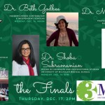 This promotional flyer (a horizontal banner with a green background) from the University of Louisiana at Lafayette includes photos and titles for all four speakers—Dr. Beth Godbee, Dr. Shoba Subramanian, Dr. Meghan Duffy, and Prof. Ray Schroeder—along images for coffee talk and three-minute thesis events.